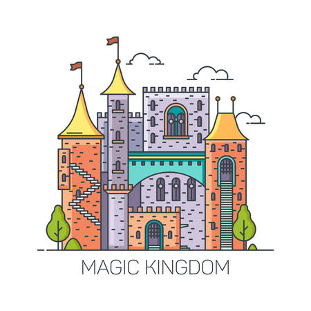 Magic castle from fairy tales, medieval princess stronghold, cartoon kingdom mansion, dreamlike colorful fort with towers. Fantasy or story, fairytale or fable, imaginary keep. Children, kids theme