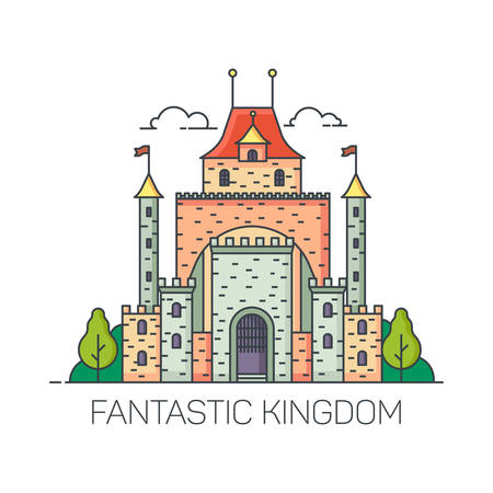 Beautiful magic castle for princess. Cartoon kingdom building for fairytale. Fantastic or fantasy fort for fairy tale background. Fort with towers or citadel landscape. Children or kid ethereal palace
