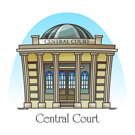 Courthouse front or facade. Central court building facade with columns and steps. Law structure entrance or government construction. Punishment or justice institute. City landmark. Architecture theme  イラスト・ベクター素材