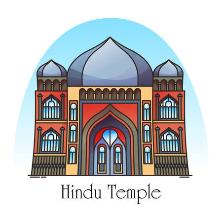 Exterior view of hindu temple in thin line. Mandir building facade. Religious construction for India and Cambodia, nepal and vietnam. Asia structure for pray or worship.Architecture, religion landmark