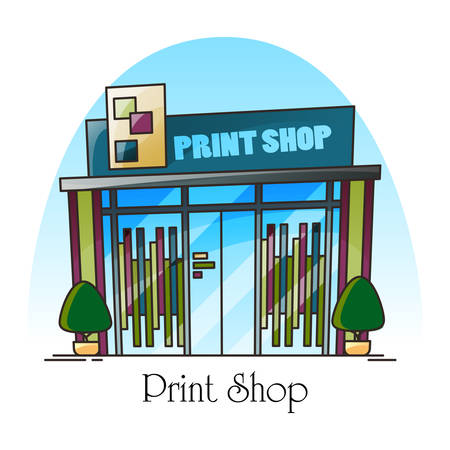 Print shop building facade in thin line. Outdoor or exterior view on newspaper printing house. Typography construction or press structure. Magazine and book printing, architecture theme