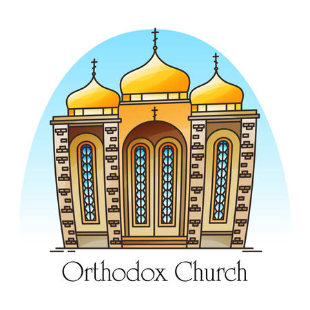 Orthodox church with domes or eastern european building for pray. Construction in thin line for Jesus Christ worship. Christian religious structure. Exterior view on russian or greek landmark.