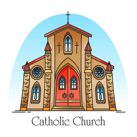 Exterior view on christian church in thin line. Catholic building for jesus christ pray. Religion construction. Cartoon chapel or facade of religious sanctuary. Architecture and religion, God theme