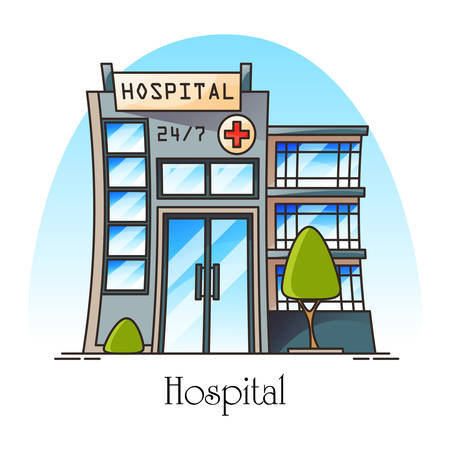 Facade of hospital in thin line or exterior view at clinic. Cartoon construction of hospice or dispensary. Structure for doctor and patients, ambulance. Architecture and healthcare, medicine theme