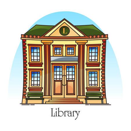 Bâtiment plat de bibliothèque publique en ligne mince. Façade de la structure de l'éducation. Vue extérieure ou extérieure au savoir ou à la construction académique. Point de repère de la ville ou de la ville. Lecture et architecture, livres, étude