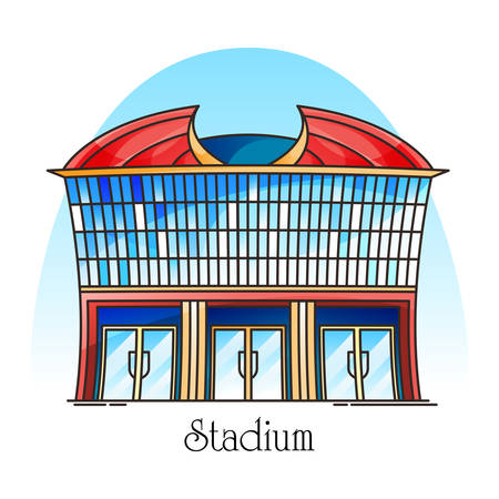 Sport stadium in thin line. Sportsmen competition flat building. Construction for rugby, soccer, american football championship. Town or city architecture landmark. Structure for match or event.