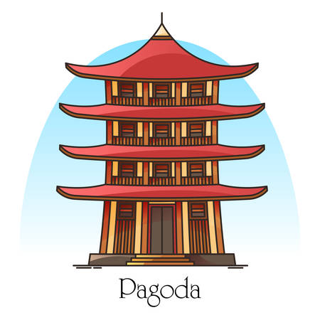 Japanese or chinese pagoda. China or Japan building with eaves. Religion tower panorama. Buddha or burma temple facade. Asian town or city worship place. Architecture and religion theme Çizim