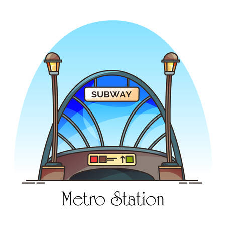 Glassware building of metro station or train railway. Subway entrance at downtown. Construction for underground travel. Exterior view at structure for urban travel. Architecture and transport theme