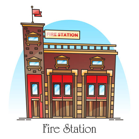 Building for fireman, fire station facade or firehouse construction. Firefighter service icon. Structure in thin line for firemen. Firestation panorama. Architecture and rescue department theme Çizim