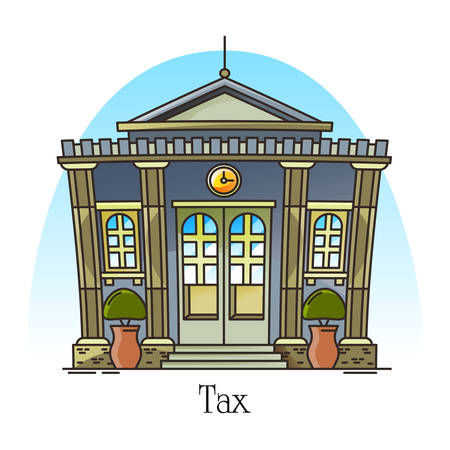 Tax office or department in thin line. Exterior or outdoor view at financial building facade, Structure for revenue institution. Town or city landmark, construction panorama. Municipal architecture Çizim