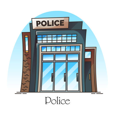 Building facade of police station or department. Policeman institution or construction in thin line. Exterior or outdoor view at guard or security construction. Cartoon policemen place. Architecture Çizim