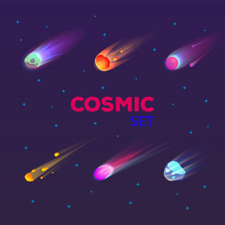 Set of isolated falling comet or burning star, flame asteroid or meteor burst with tail, trail, meteorite in space or meteoroid flare, cosmos stone. Universe and cosmic, astronomy, astrology, science