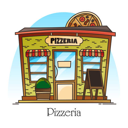 Pizzeria building with pizza at facade. Italian or american fast food construction in thin line for sign or banner. Landscape of street view. Structure of food shop or store. Architecture and service Çizim