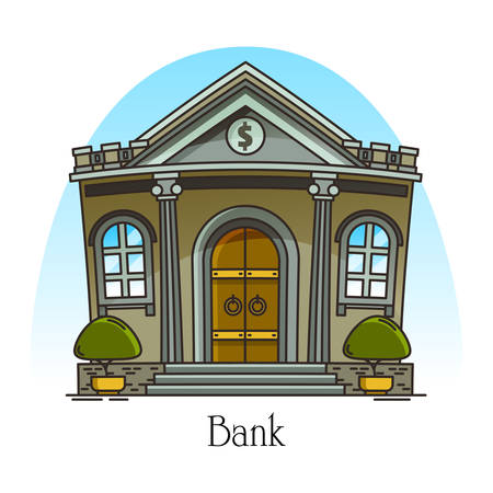 Cartoon bank building with column. Finance construction in thin line. Banking house with dollar sign. Urban financial landmark for money credit, loan. Banker structure facade.Architecture, sightseeing