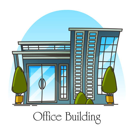 Modern office building or exterior, outdoor view on structure for local business. Glassware construction for work or job, urban panorama, facade of skyscraper for rent. Architecture theme