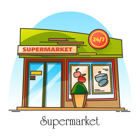 Exterior view on supermarket building. Thin line banner with super shop or market, store facade. Outdoor view on local urban structure or construction. Cityscape panorama. Food and drink, architecture