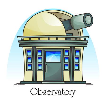 Edificio de planetario con telescopio en cúpula. Exterior de la fachada del observatorio o vista exterior. Ciencia y astronomía, cielo y cosmos, panorama del universo. Construcción o estructura para observación de planetas.