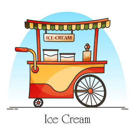 Ice cream cart or wagon with flags, kiosk for ice-cream retail. Wheel shop or store with sweet dessert food for banner. Exterior view at trolley with showcase or counter, stall. Market, selling theme