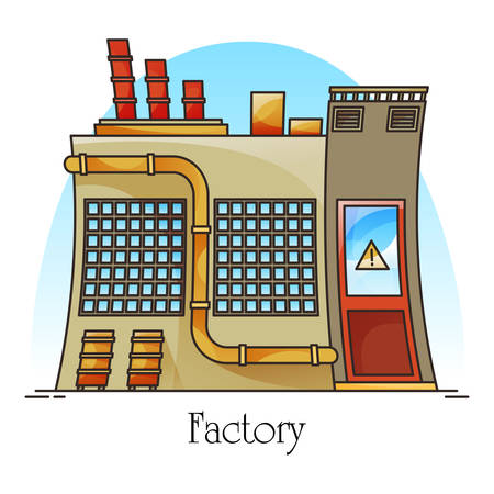 Outdoor view on heavy factory or industrial building, manufacturing hazardous plant. Construction with pipes, assembly line. Energy electricity and oil refinery, industry and technology theme Illustration