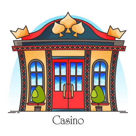 Casino building or gambling house entrance. Outdoor view on construction for money games. Las Vegas structure, outdoor or outside view. Facade or showcase of gamble building. Architecture  イラスト・ベクター素材