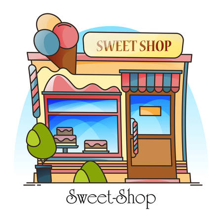 Sweets shop or confectionery store. Building for selling ice-cream, chocolate, candy, bakery. Entrance or facade of construction for sweet goods. Outdoor or exterior view. Architecture, dessert theme