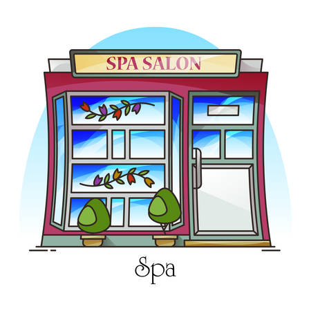 Spa salon or woman beauty building, parlour or parlor. Structure for manicure and face cleaning, body waxing and massage, pedicure or peeling, chiropody. Facade of women structure, exterior view