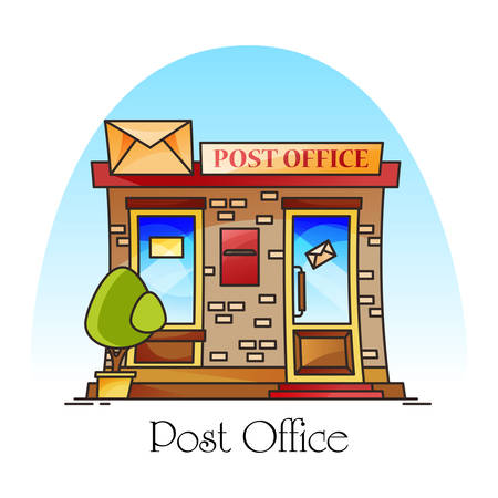 Post office building exterior view. Facade of structure or counter with envelope for mail or parcel delivery, postman or courier work, document and mailing, packaging.Architecture and delivery service