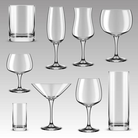 Set of isolated drinking glass for alcohol beverage and drink water. Goblet for wine tasting and whisky, whiskey and margarita cocktail, brandy, cognac, tequila and vodka. Types of beverage glassware