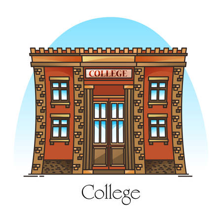 College building or university campus, higher or secondary, postgraduate education construction made of bricks. Facade of academy or front of structure. Exterior view. Architecture theme
