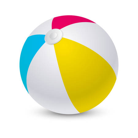 Beach ball or inflatable light sphere for summer sport, equipment for leisure, party pool competition round with shadow or shade. Play and sporting, closeup or mockup for recreation activity Ilustración de vector
