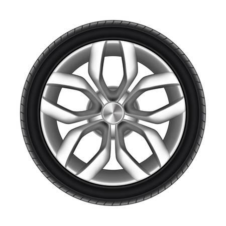 Reifen eines Autos isoliert. Gummireifen des LKWs oder des Rades des Autos. Renngummikreis für die Straße. Stahl- oder Metallscheibe für LKW oder LKW. Automobil und Transport, Fahrzeug und Automobil, Transportthema