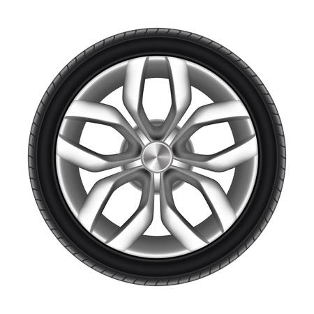 Tire of a car isolated. Rubber tyre of truck or wheel of auto. Racing rubber circle for road. Steel or metal disk for lorry or truck. Automobile and transport, vehicle and automotive, transportation theme