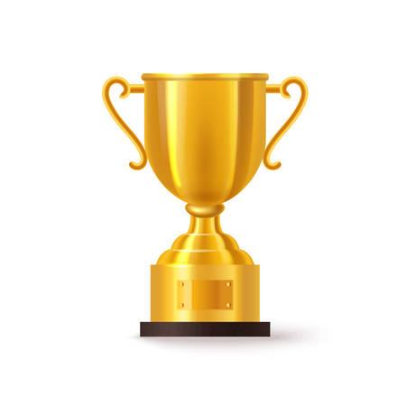 Trofeo o copa de oro 3d o realista. Copa de primer lugar aislado para evento deportivo o celebración de competición. Premio del juego de oro. Icono de premio de tenis y carrera, fútbol y fútbol, rugby y hockey.