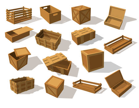 Wooden packs or wood boxes for packaging. Set of isolated mockup or closeup of lumber cargo square container. Delivery and pack, packaging and storage, parcel wrap and shipping, product theme