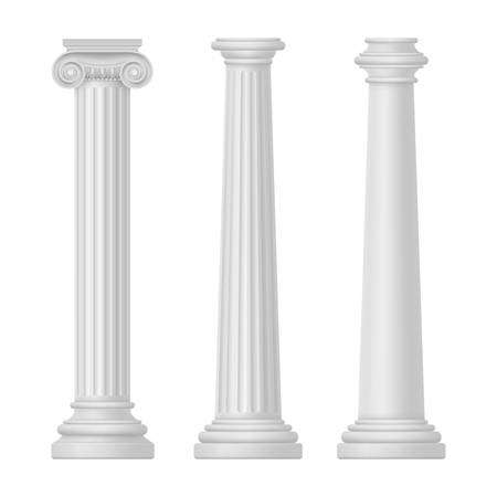 Ionic and Tuscan, greek and egypt, rome columns isolated. Rome and Greece, ancient pillar for temple building. Set of antique or vintage architecture for Athens. Classic architecture and history theme