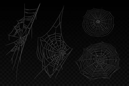 Set of isolated spider web. Halloween background with corner cobweb. White web with lines. Creepy spiderweb tattoo. Insect arachnid network ornament. Gothic and spidery, fear and horror theme Illustration
