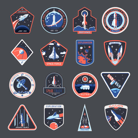 Space patches, galaxy exploration and astronaut mission vector badges and spaceship emblems. Vintage t shirt print design, space forces rocket, mars and moon expedition shuttle