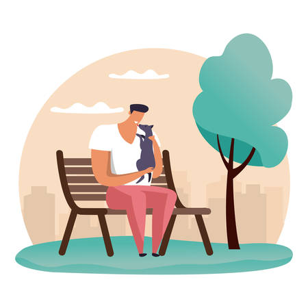 Simple cartoon man at park playing with his pet. Guy at bench with his dog. Flat illustration of people and animal walking or resting.