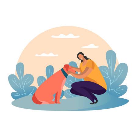 Karikaturfrau, die mit Hund im Park geht Einfaches Mädchen mit Welpen und Kragen. Flaches Weibchen, das mit Tier schlendert oder spielt. Außen- oder Außenansicht beim Hundetraining. Verspieltes Haustier. Urlaubslandschaft Vektorgrafik