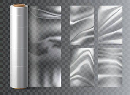 Isolated light polyethylene plastic food wrap on transparent. Polythene wrapper for snack packaging. Foil closeup or cellophane roll mockup. Membrane and sachet, tape or pouch. Container Illustration