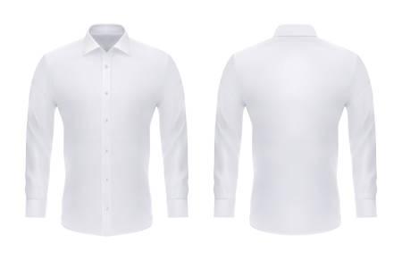Chemise blanche formelle isolée avec boutons pour affaires ou homme en tissu officiel à manches longues. Robe réaliste vide ou vierge avec col. Avant et arrière pour l'uniforme. Gros plan ou maquette pour vêtements masculins