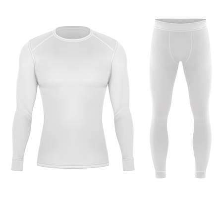 Thermal cloth for winter. Pants and shirt for warm clothing. Realistic white apparel or ski 3d sportswear. Empty and blank sweater closeup or mockup. Man or men underwear. Waterproof fabric
