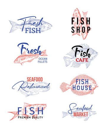 Set of isolated icons with fish sketches. Signs for seafood products or insignia for underwater food. Restaurant and ocean fillet, cafe and house, market badge. Food and nutrition, nautical theme