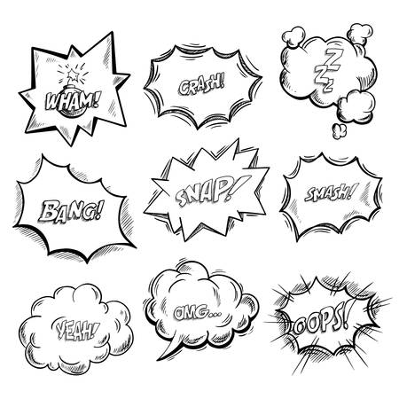 Exclamation clouds sketch and onomatopoeia comic signs, stars for cartoon emotions, bubble with expressions, dialog pop. Wham and crash, zzz and bang, snap and smash, yeah and omg, oops icons Vektoros illusztráció
