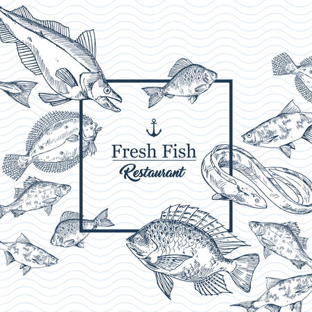 Restaurant banner with seafood or fishing club sign. Badge with sketches of pike and eel, crucian and perch, salmon and tuna, anchor. Shop or store for ocean, sea, river underwater fish. Menu insignia