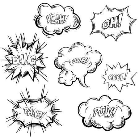 Schizzi isolati di esclamazioni comiche o suoni di onomatopea, bolle di esplosione o nuvole di approvazione. Finestre di dialogo dei cartoni animati o espressioni disegnate a mano, simbolo di replica. Bang, ooh, bello, sì, pow, oh