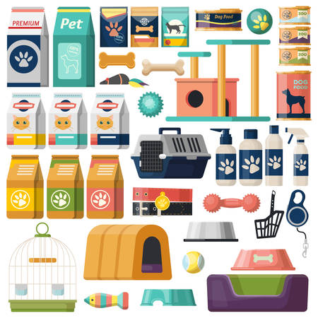 Set of isolated pet items, food for cat and dog, bag and litter, rubber fish and doggy bone, kitty comb and puppy toilet, kitten goods and feline house. Icons for animal shop or store, market