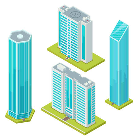Set of isolated glass skyscraper or business center. Isometric buildings with helicopter landing pad or helipad platform on rooftop or roof. Icon for architecture office construction, exterior view.