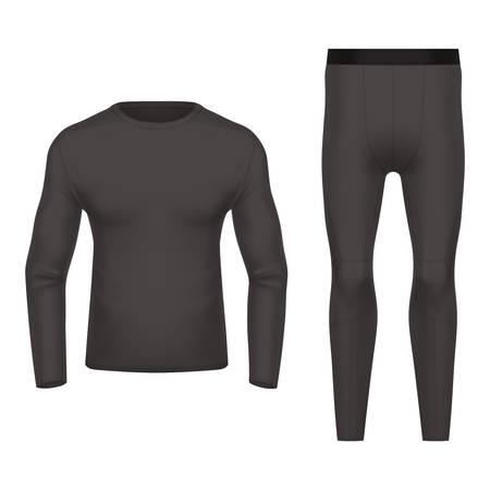 Vue avant et arrière de l'usure thermique 3D ou réaliste. Vêtements noirs pour l'hiver, chemise et pantalon chauds. Gros plan vide ou vide de vêtements de sport. Maquette de vêtements de ski. Sous-vêtements homme ou femme, homme ou femme
