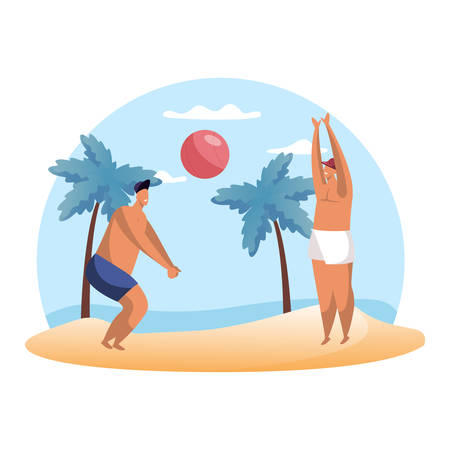Cartoon people playing summer volleyball on beach. Man playing hand ball sport. Summertime hobby. Volley play and game. Exercise and fitness hobby. Holiday and vacation, sea and ocean, palm, activity  イラスト・ベクター素材
